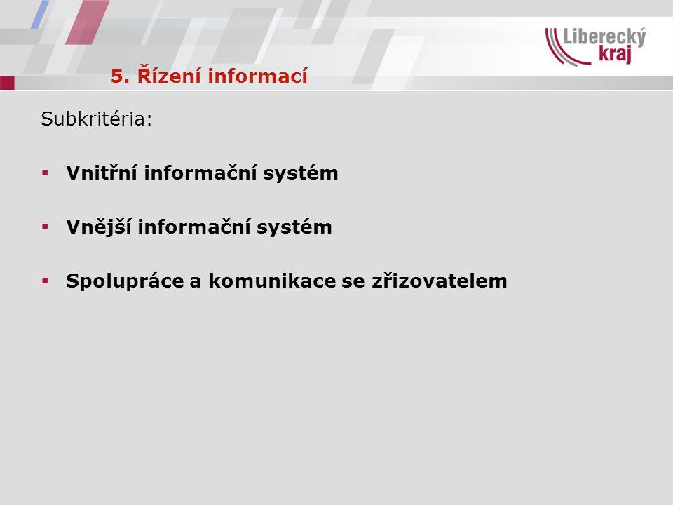 5. Řízení informací Subkritéria:  Vnitřní informační systém  Vnější informační systém  Spolupráce a komunikace se zřizovatelem