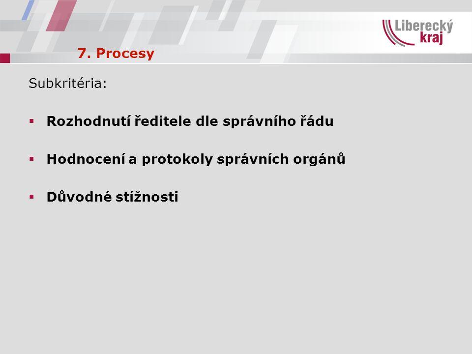 7. Procesy Subkritéria:  Rozhodnutí ředitele dle správního řádu  Hodnocení a protokoly správních orgánů  Důvodné stížnosti