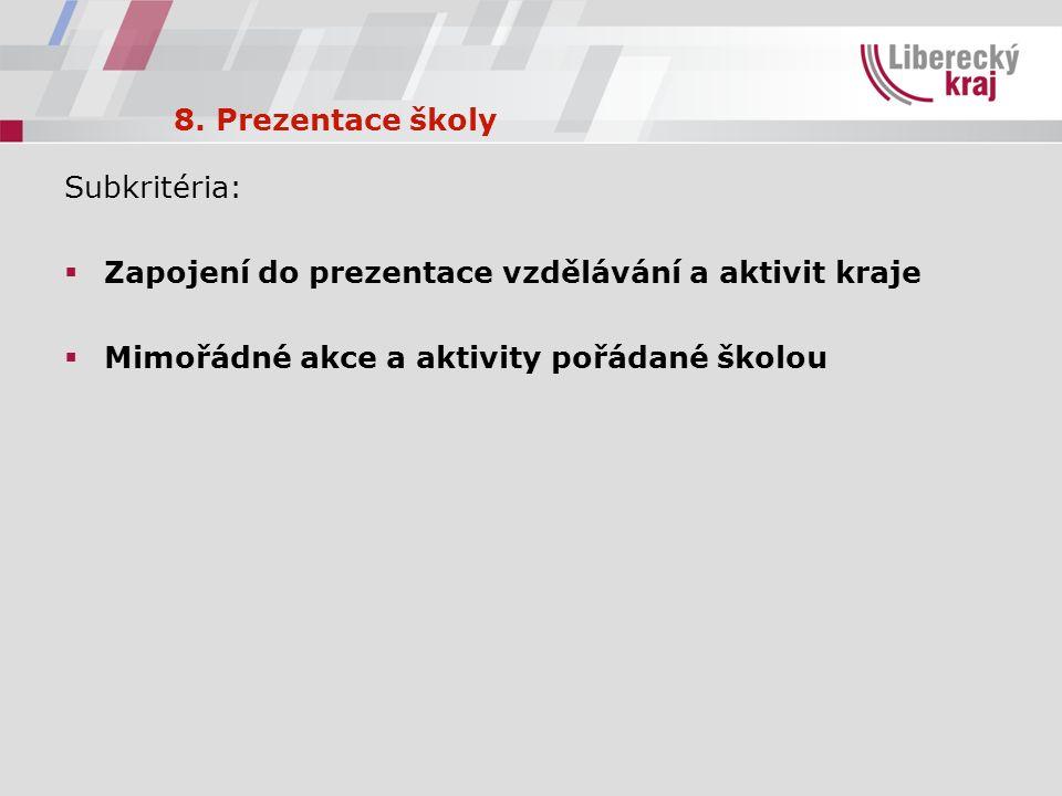 8. Prezentace školy Subkritéria:  Zapojení do prezentace vzdělávání a aktivit kraje  Mimořádné akce a aktivity pořádané školou