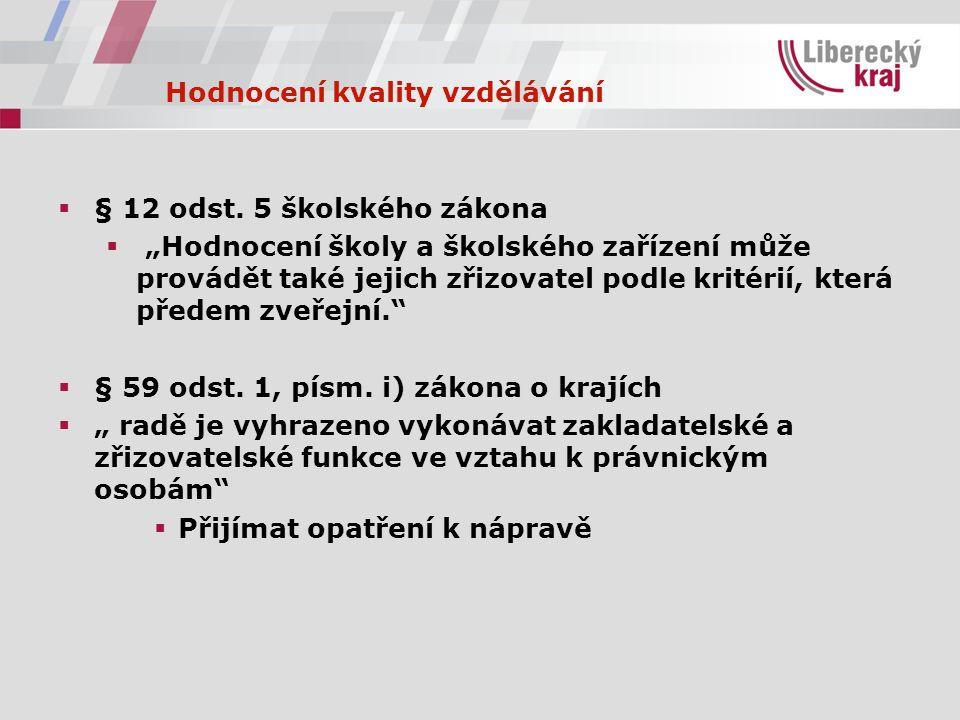 Hodnocení kvality vzdělávání  § 12 odst.
