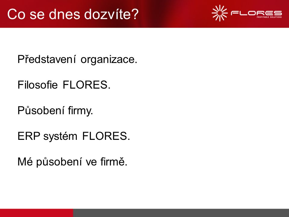 Představení organizace. Filosofie FLORES. Působení firmy. ERP systém FLORES. Mé působení ve firmě. Co se dnes dozvíte?