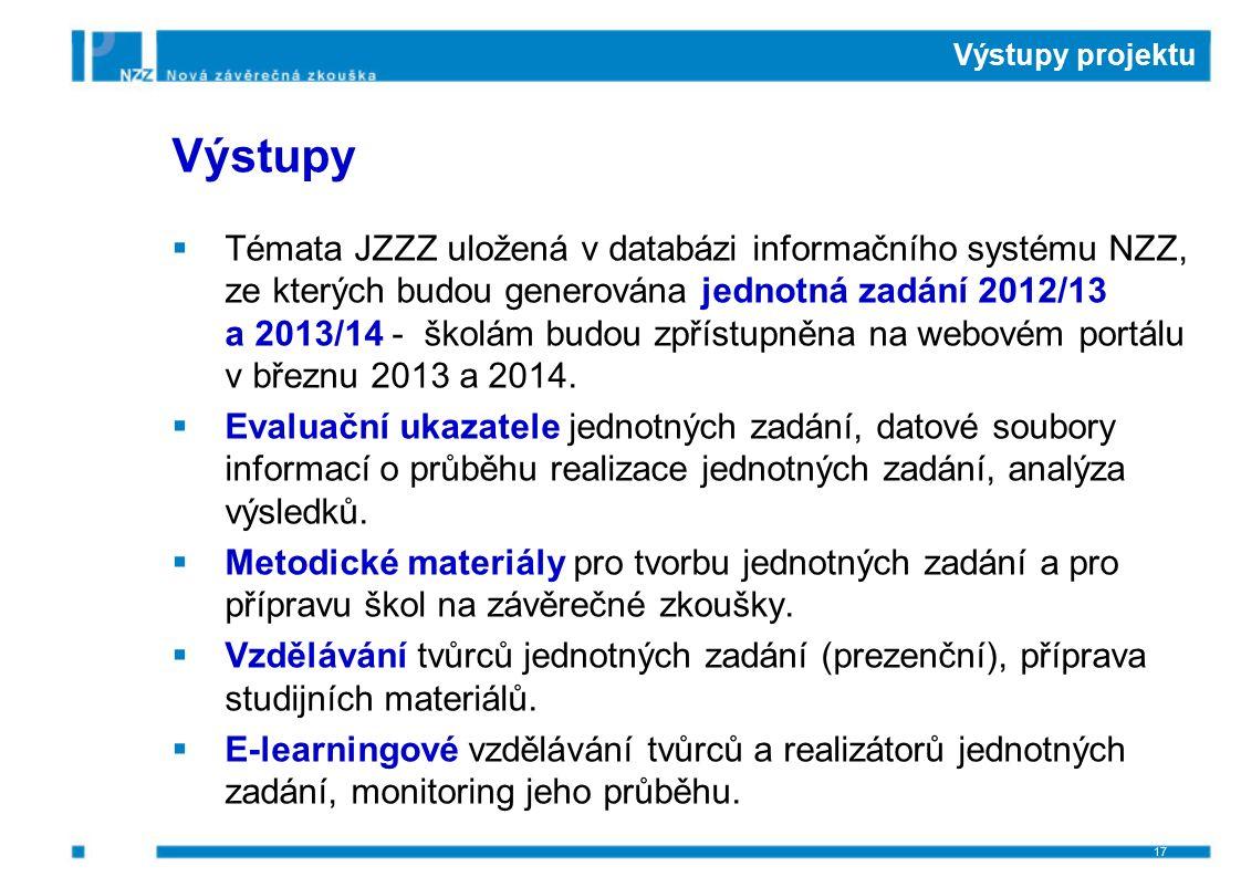 Výstupy projektu Výstupy  Témata JZZZ uložená v databázi informačního systému NZZ, ze kterých budou generována jednotná zadání 2012/13 a 2013/14 - šk
