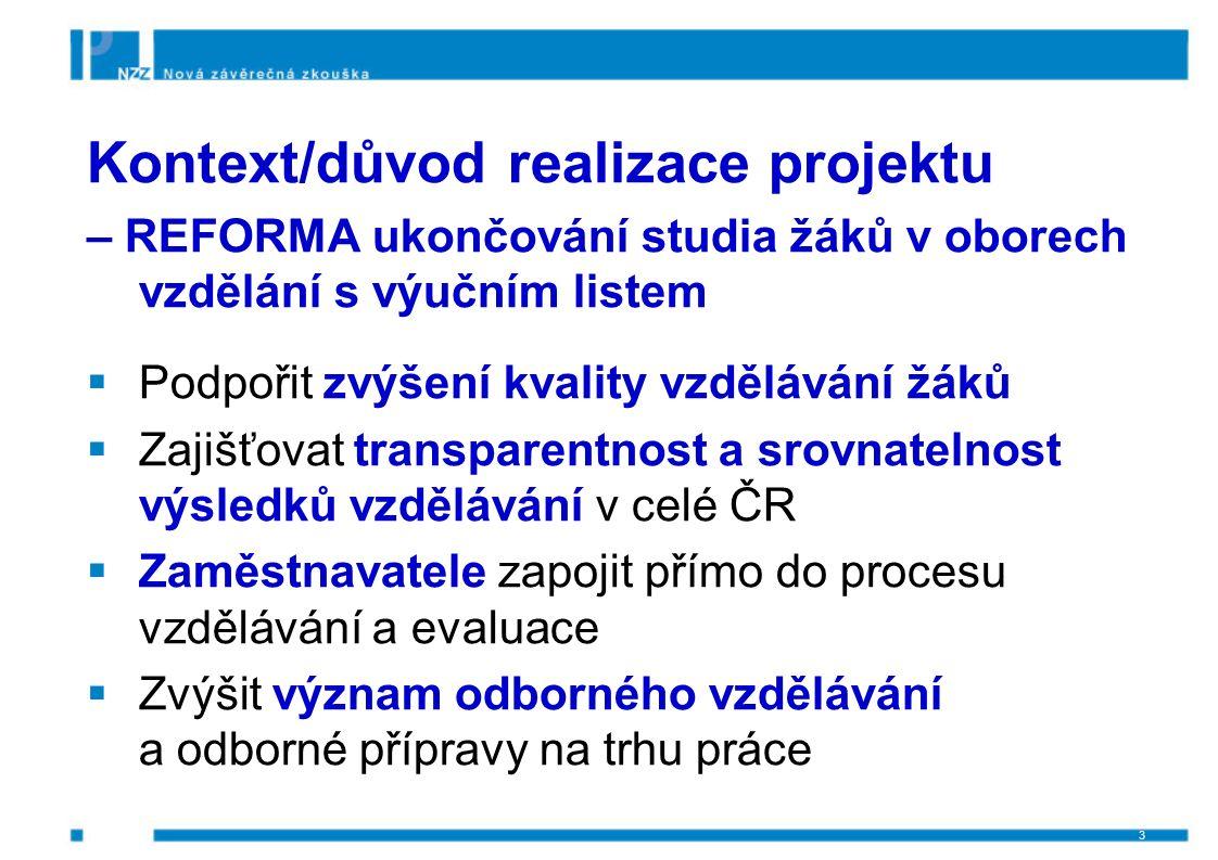Cíl projektu Zabezpečit přípravu jednotných zadání pro závěrečné zkoušky 2012/2013 a 2013/14 ve vazbě na  nové obory vzdělání s rámcovými vzdělávacími programy  kvalifikační standardy NSK 4