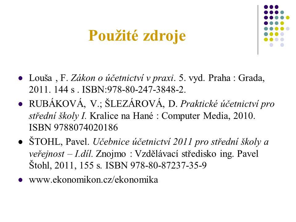 Použité zdroje Louša, F. Zákon o účetnictví v praxi. 5. vyd. Praha : Grada, 2011. 144 s. ISBN:978-80-247-3848-2. RUBÁKOVÁ, V.; ŠLEZÁROVÁ, D. Praktické