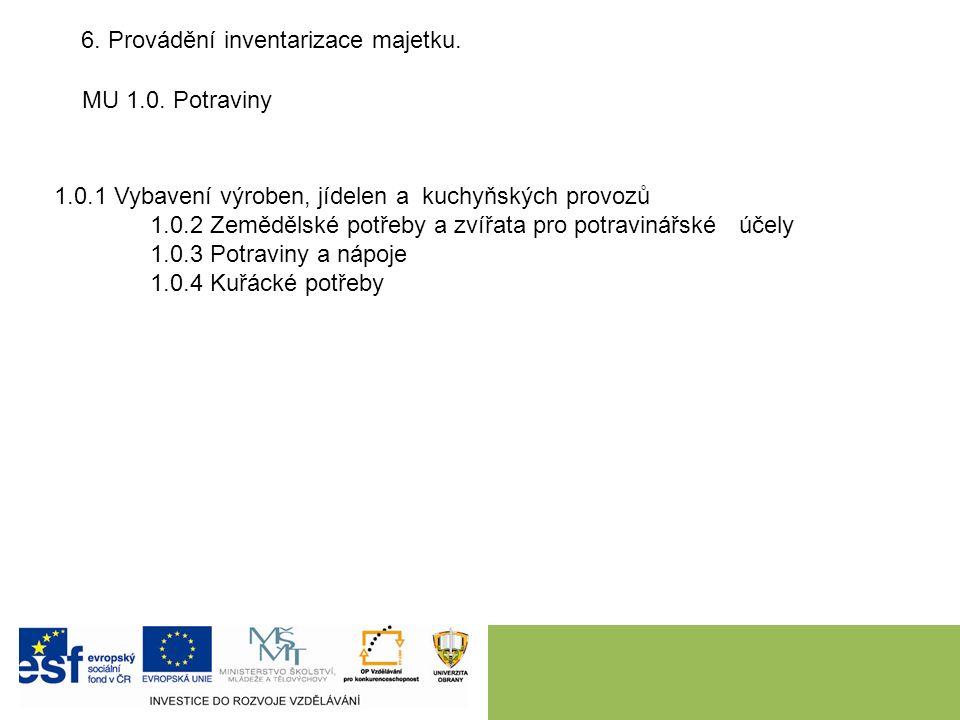 6. Provádění inventarizace majetku. MU 1.0.