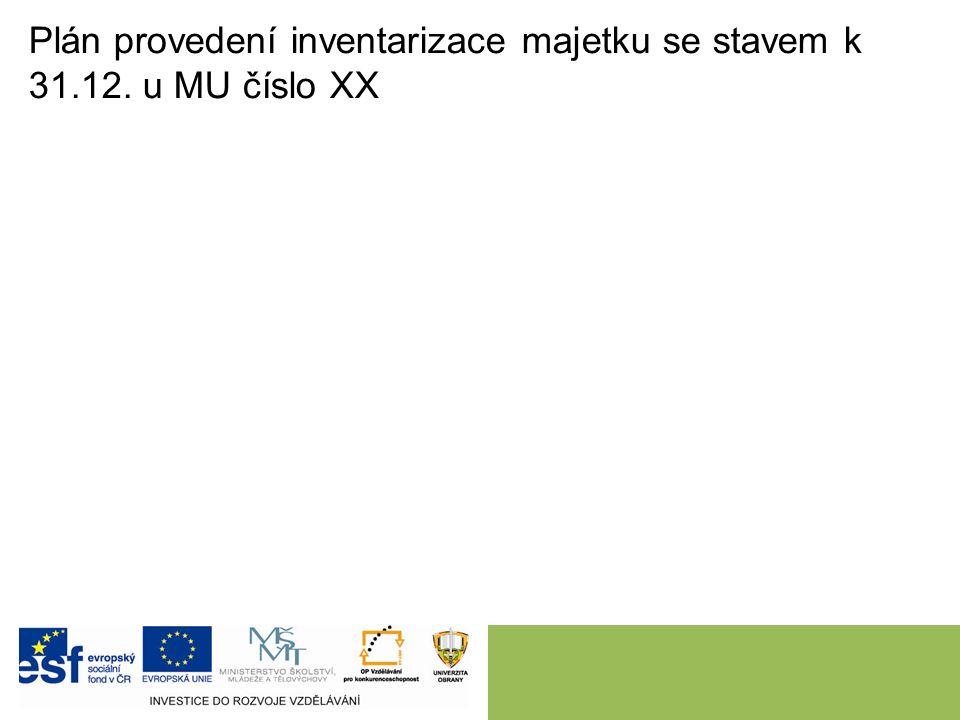 Plán provedení inventarizace majetku se stavem k 31.12. u MU číslo XX