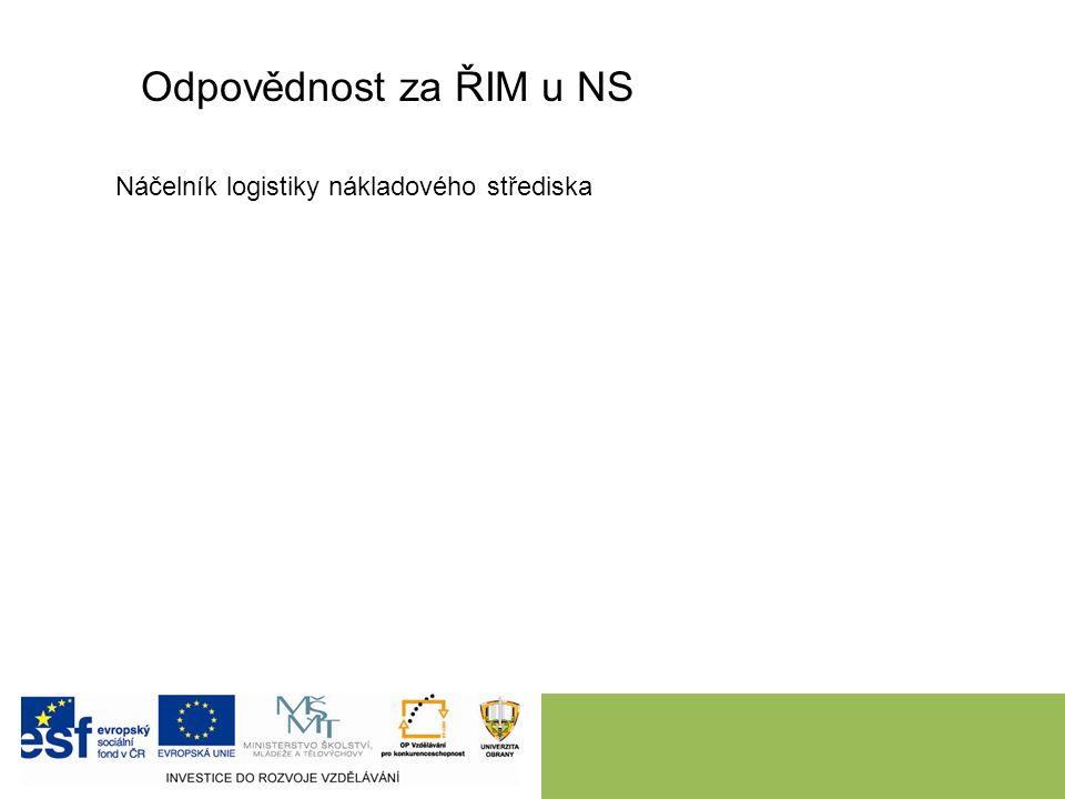 Odpovědnost za ŘIM u NS Náčelník logistiky nákladového střediska