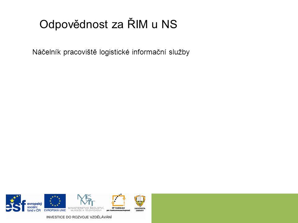 Odpovědnost za ŘIM u NS Náčelník pracoviště logistické informační služby