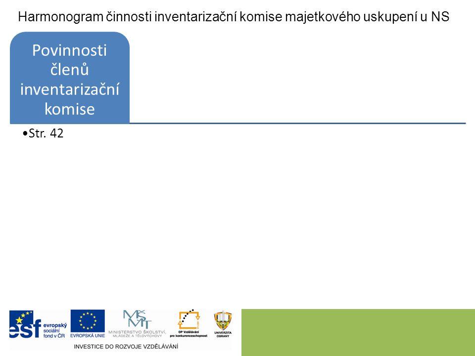 Harmonogram činnosti inventarizační komise majetkového uskupení u NS Povinnosti členů inventarizační komise Str.