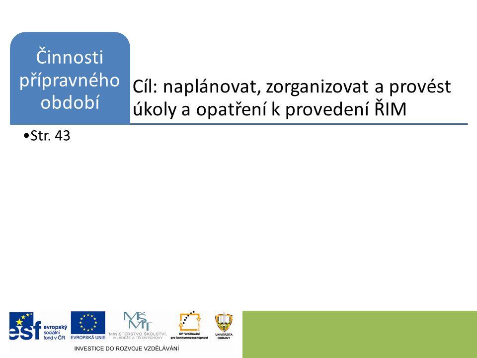 Cíl: naplánovat, zorganizovat a provést úkoly a opatření k provedení ŘIM Činnosti přípravného období Str.