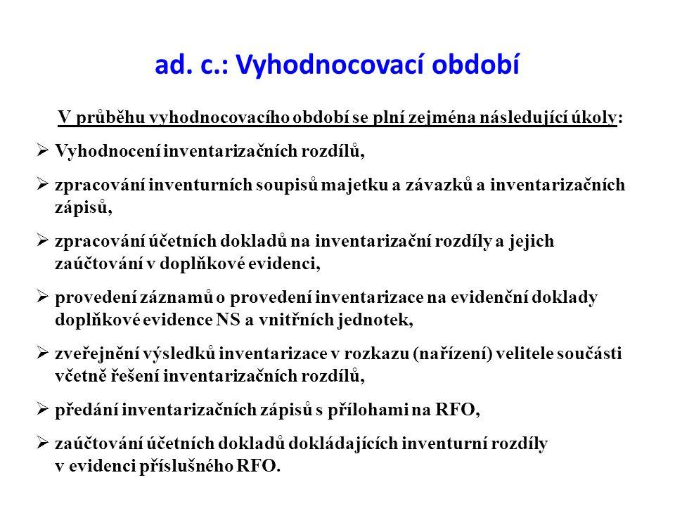 ad. c.: Vyhodnocovací období  Vyhodnocení inventarizačních rozdílů,  zpracování inventurních soupisů majetku a závazků a inventarizačních zápisů, 