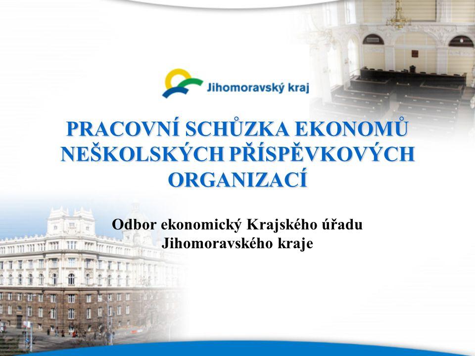 PRACOVNÍ SCHŮZKA EKONOMŮ NEŠKOLSKÝCH PŘÍSPĚVKOVÝCH ORGANIZACÍ Odbor ekonomický Krajského úřadu Jihomoravského kraje