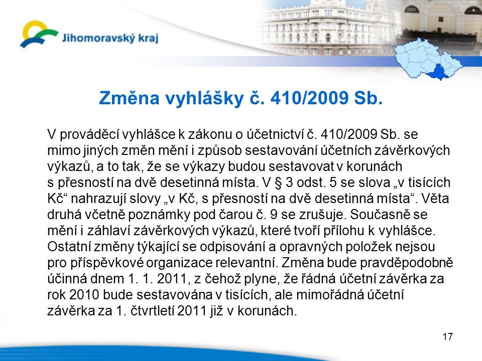 Změna vyhlášky č. 410/2009 Sb. V prováděcí vyhlášce k zákonu o účetnictví č.