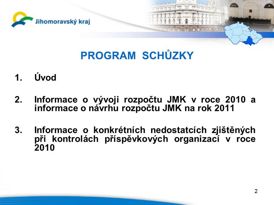 PROGRAM SCHŮZKY 1.Úvod 2.Informace o vývoji rozpočtu JMK v roce 2010 a informace o návrhu rozpočtu JMK na rok 2011 3.Informace o konkrétních nedostatcích zjištěných při kontrolách příspěvkových organizací v roce 2010 2