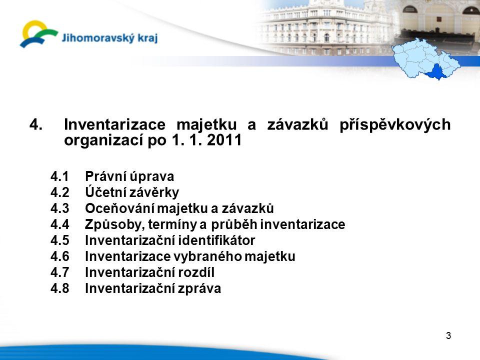 4.Inventarizace majetku a závazků příspěvkových organizací po 1.