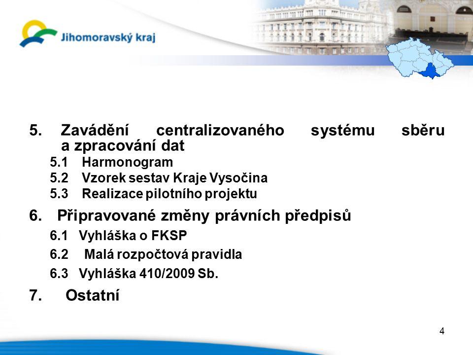 5.Zavádění centralizovaného systému sběru a zpracování dat 5.1Harmonogram 5.2Vzorek sestav Kraje Vysočina 5.3Realizace pilotního projektu 6.