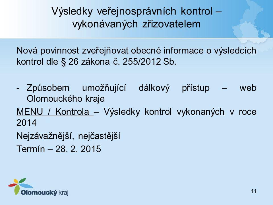 Výsledky veřejnosprávních kontrol – vykonávaných zřizovatelem Nová povinnost zveřejňovat obecné informace o výsledcích kontrol dle § 26 zákona č. 255/