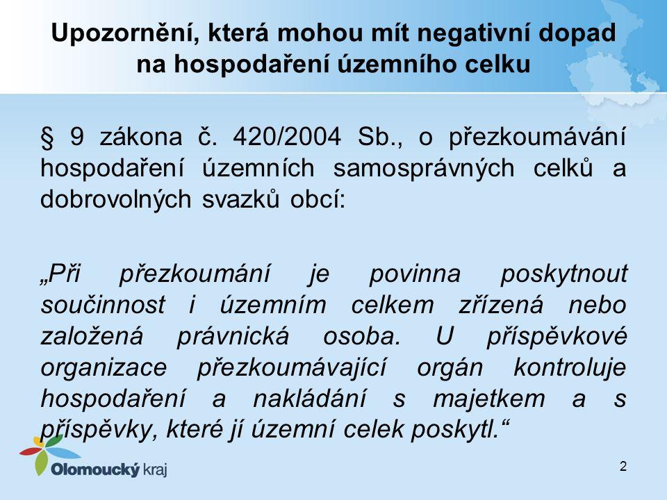 Upozornění, která mohou mít negativní dopad na hospodaření územního celku § 9 zákona č. 420/2004 Sb., o přezkoumávání hospodaření územních samosprávný