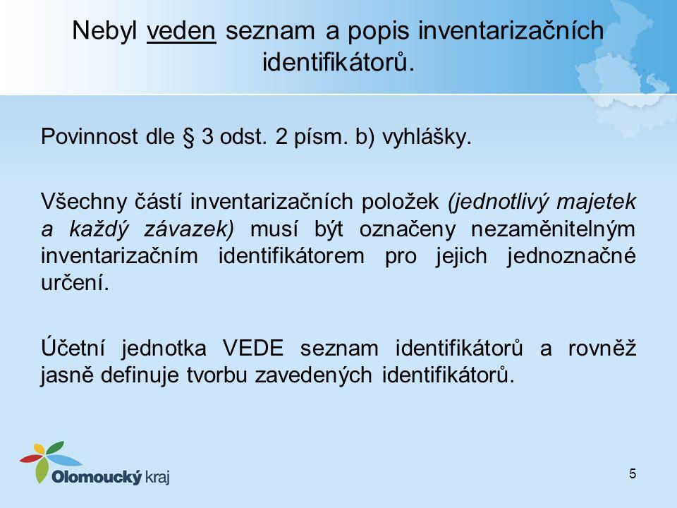 Nebyl veden seznam a popis inventarizačních identifikátorů. Povinnost dle § 3 odst. 2 písm. b) vyhlášky. Všechny částí inventarizačních položek (jedno