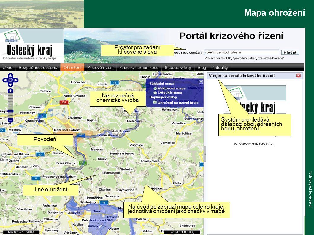 www.tlp-emergency.com Technologie, lidé, prostředí Mapa ohrožení Prostor pro zadání klíčového slova Na úvod se zobrazí mapa celého kraje, jednotlivá ohrožení jako značky v mapě Povodeň Nebezpečná chemická výroba Jiné ohrožení Systém prohledává databázi obcí, adresních bodů, ohrožení