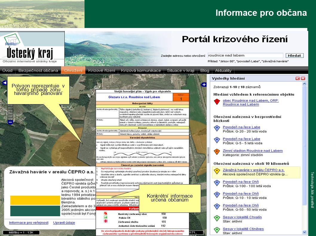 www.tlp-emergency.com Technologie, lidé, prostředí Informace pro občana Konkrétní informace určená občanům Polygon reprezentuje v tomto případě zónu havarijního plánování