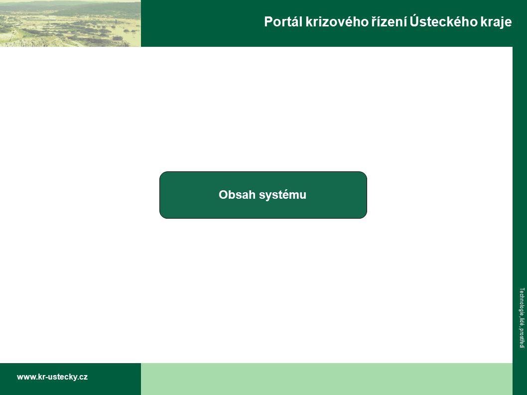 www.kr-ustecky.cz Technologie, lidé, prostředí Portál krizového řízení Ústeckého kraje Obsah systému