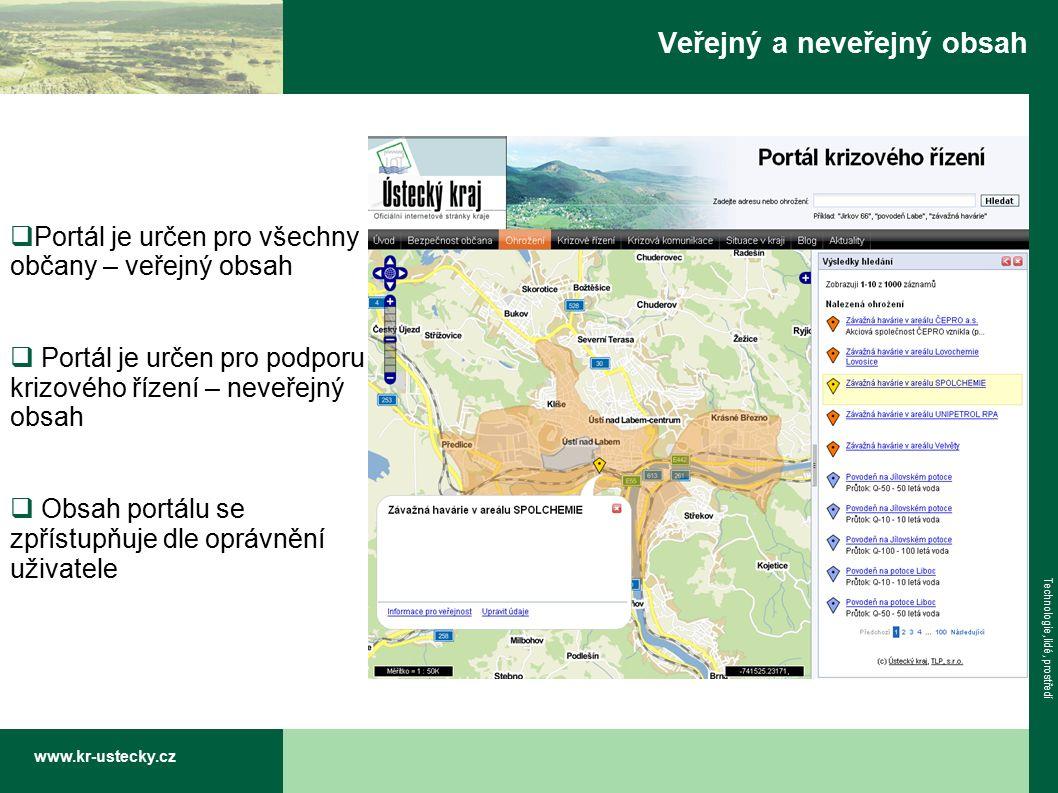 www.kr-ustecky.cz Technologie, lidé, prostředí Veřejný a neveřejný obsah  Portál je určen pro všechny občany – veřejný obsah  Portál je určen pro podporu krizového řízení – neveřejný obsah  Obsah portálu se zpřístupňuje dle oprávnění uživatele