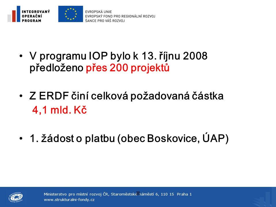 Ministerstvo pro místní rozvoj ČR, Staroměstské náměstí 6, 110 15 Praha 1 www.strukturalni-fondy.cz lll V programu IOP bylo k 13. říjnu 2008 předložen
