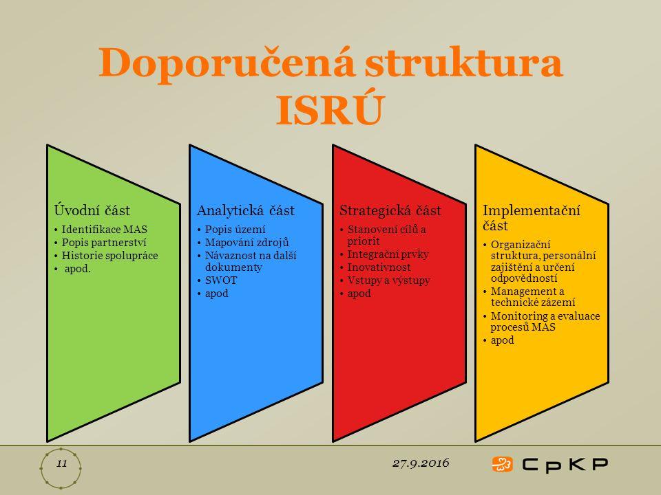 Doporučená struktura ISRÚ 27.9.201611 Úvodní část Identifikace MAS Popis partnerství Historie spolupráce apod.