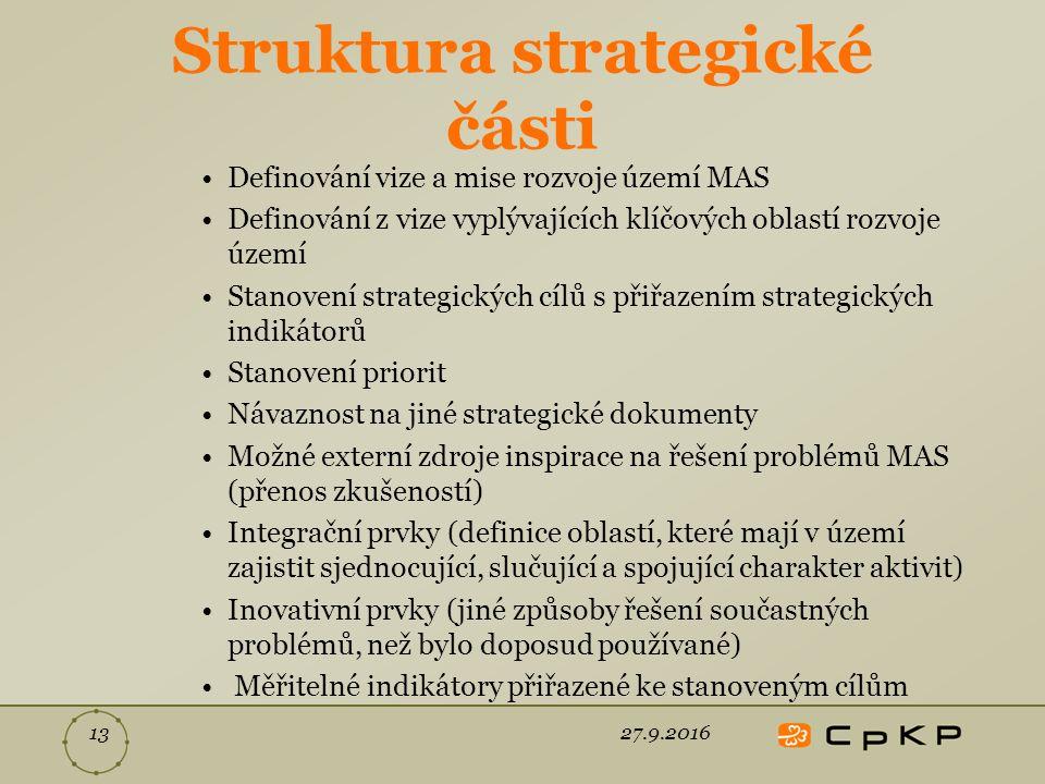 Struktura strategické části Definování vize a mise rozvoje území MAS Definování z vize vyplývajících klíčových oblastí rozvoje území Stanovení strategických cílů s přiřazením strategických indikátorů Stanovení priorit Návaznost na jiné strategické dokumenty Možné externí zdroje inspirace na řešení problémů MAS (přenos zkušeností) Integrační prvky (definice oblastí, které mají v území zajistit sjednocující, slučující a spojující charakter aktivit) Inovativní prvky (jiné způsoby řešení součastných problémů, než bylo doposud používané) Měřitelné indikátory přiřazené ke stanoveným cílům 27.9.201613