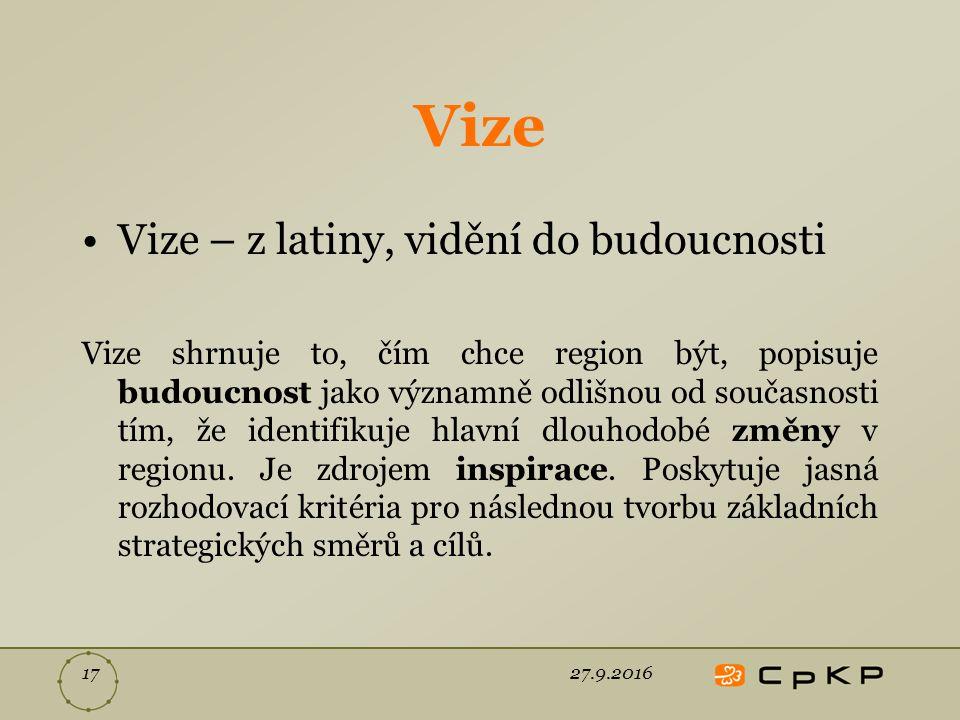 Vize Vize – z latiny, vidění do budoucnosti Vize shrnuje to, čím chce region být, popisuje budoucnost jako významně odlišnou od současnosti tím, že identifikuje hlavní dlouhodobé změny v regionu.