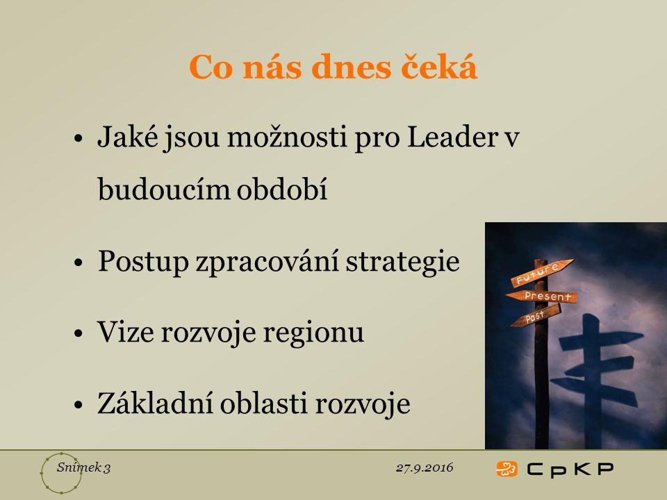 Snímek 3 Co nás dnes čeká Jaké jsou možnosti pro Leader v budoucím období Postup zpracování strategie Vize rozvoje regionu Základní oblasti rozvoje