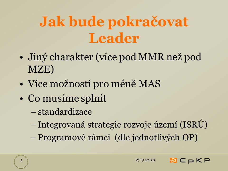 Jak bude pokračovat Leader Jiný charakter (více pod MMR než pod MZE) Více možností pro méně MAS Co musíme splnit –standardizace –Integrovaná strategie rozvoje území (ISRÚ) –Programové rámci (dle jednotlivých OP) 27.9.20164