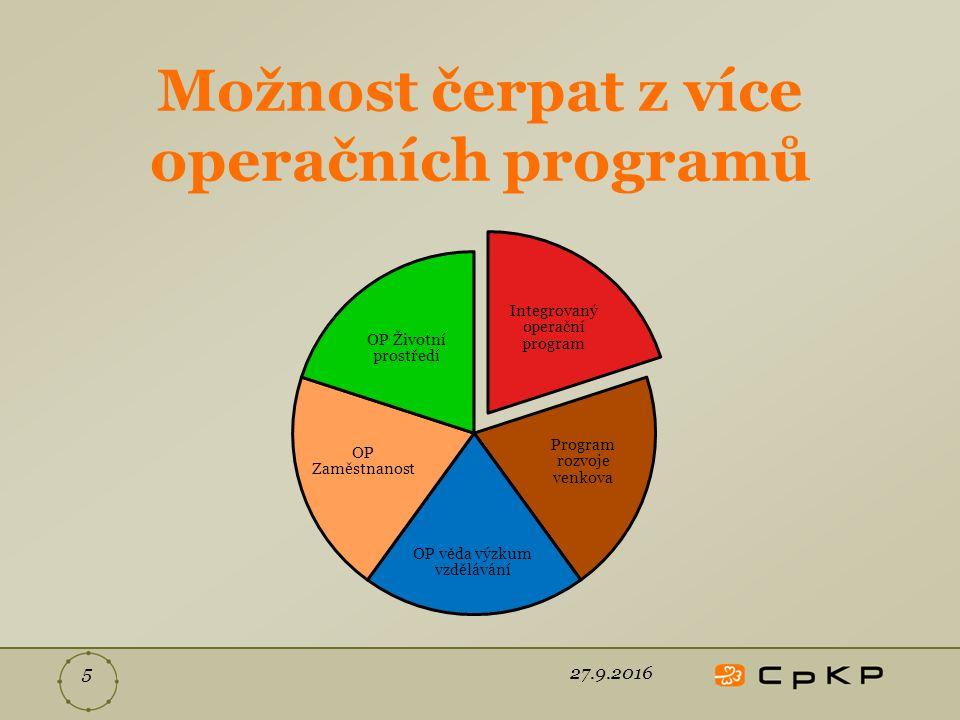 Možnost čerpat z více operačních programů Integrovaný operační program Program rozvoje venkova OP věda výzkum vzdělávání OP Zaměstnanost OP Životní prostředí 27.9.20165