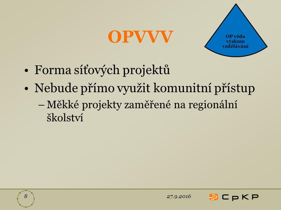 OPVVV Forma síťových projektů Nebude přímo využit komunitní přístup –Měkké projekty zaměřené na regionální školství 27.9.20168 OP věda výzkum vzdělávání