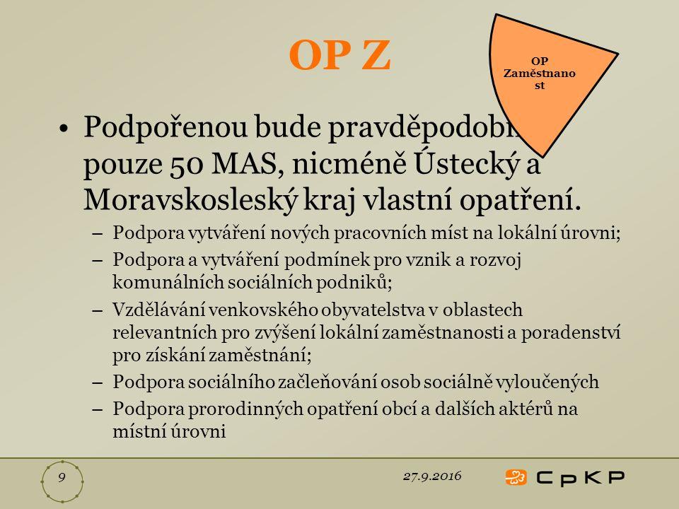 OP Z Podpořenou bude pravděpodobně pouze 50 MAS, nicméně Ústecký a Moravskosleský kraj vlastní opatření.