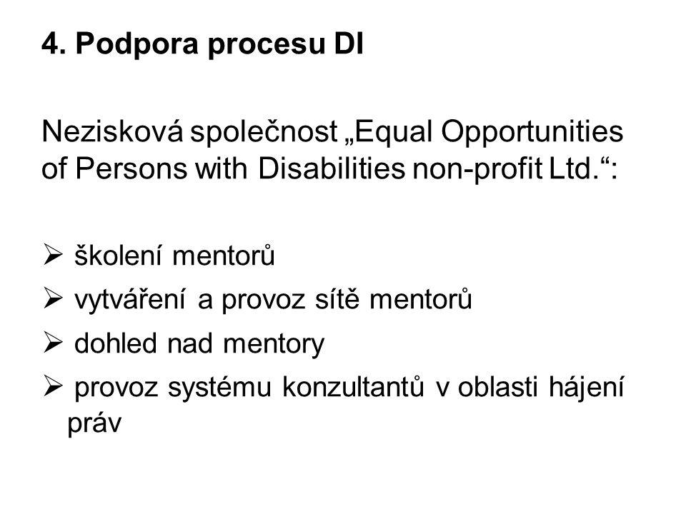 """4. Podpora procesu DI Nezisková společnost """"Equal Opportunities of Persons with Disabilities non-profit Ltd."""":  školení mentorů  vytváření a provoz"""