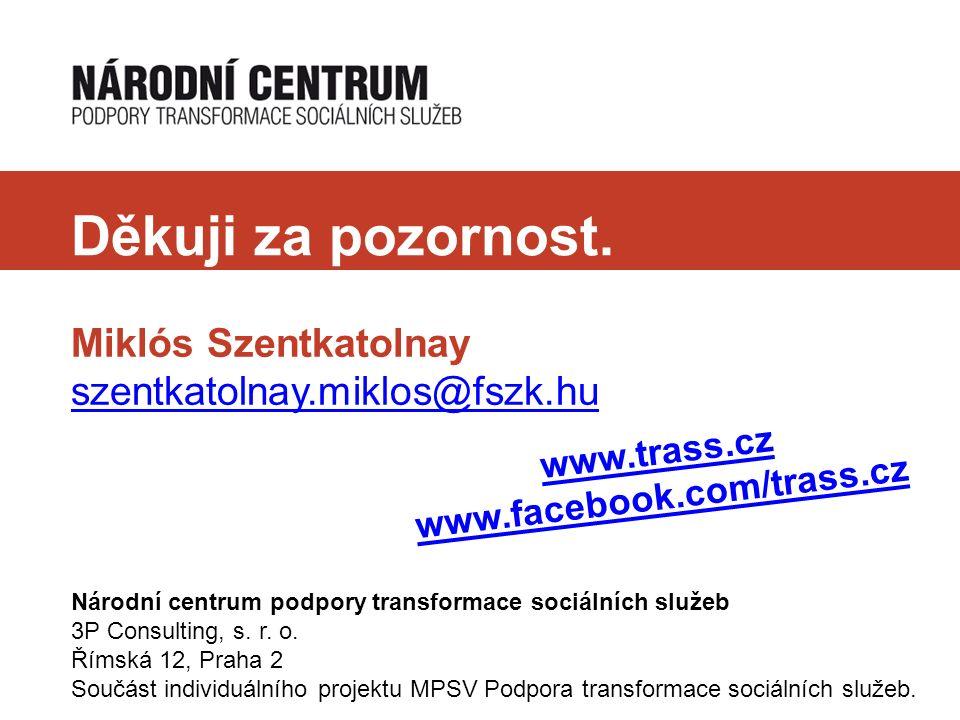 Děkuji za pozornost. Miklós Szentkatolnay szentkatolnay.miklos@fszk.hu Národní centrum podpory transformace sociálních služeb 3P Consulting, s. r. o.