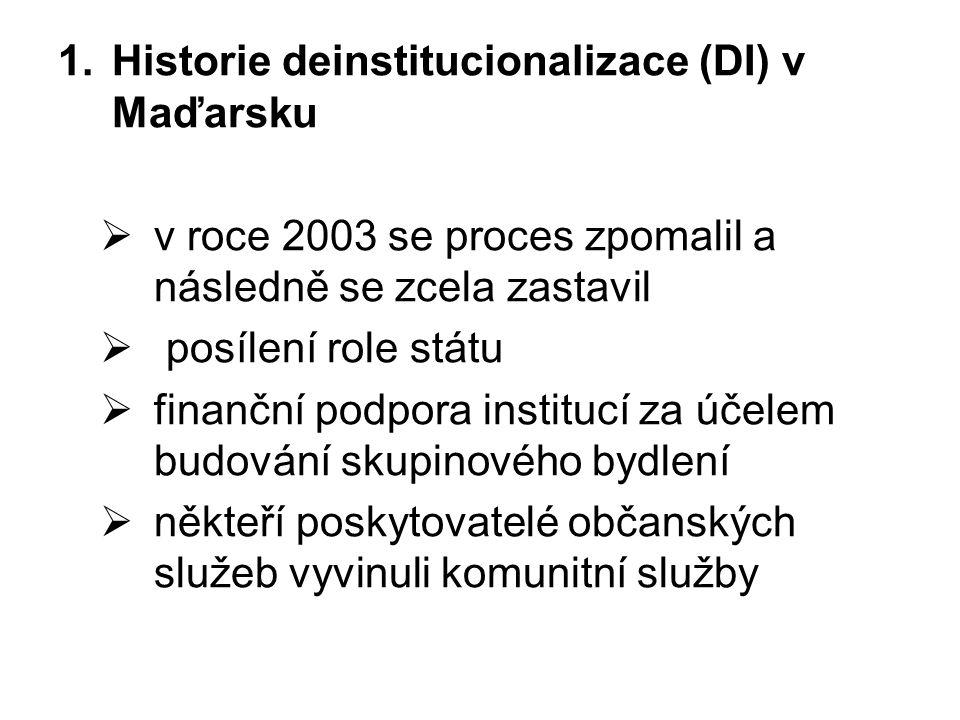 1.Historie deinstitucionalizace (DI) v Maďarsku  v roce 2003 se proces zpomalil a následně se zcela zastavil  posílení role státu  finanční podpora institucí za účelem budování skupinového bydlení  někteří poskytovatelé občanských služeb vyvinuli komunitní služby