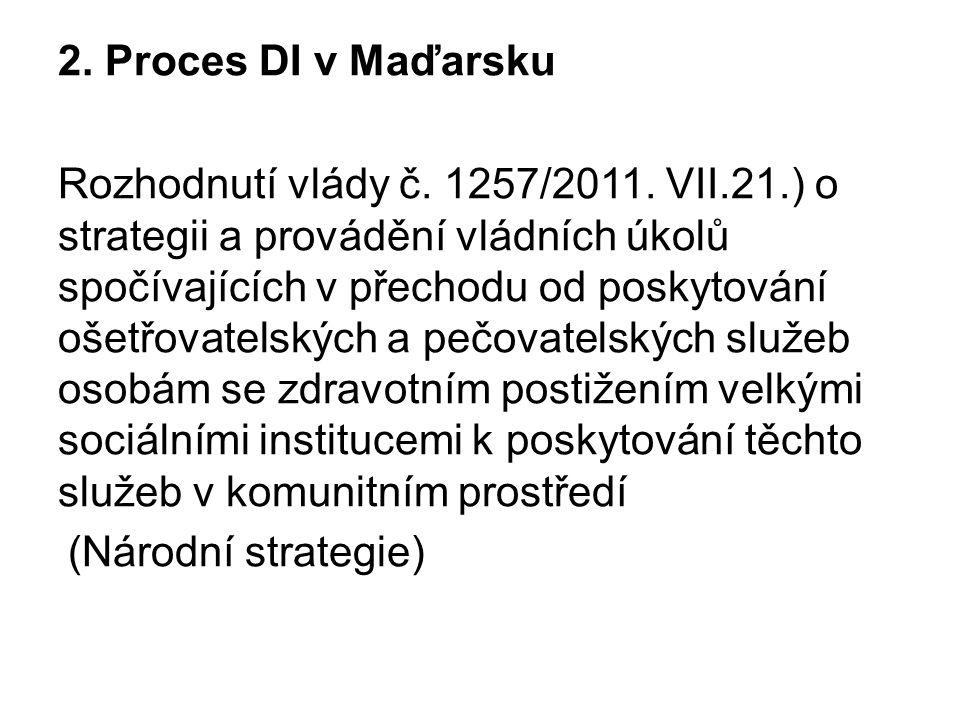 2. Proces DI v Maďarsku Rozhodnutí vlády č. 1257/2011. VII.21.) o strategii a provádění vládních úkolů spočívajících v přechodu od poskytování ošetřov