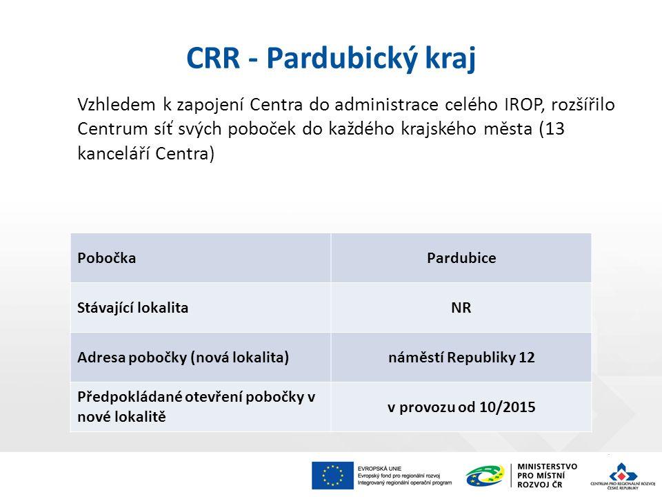 Vzhledem k zapojení Centra do administrace celého IROP, rozšířilo Centrum síť svých poboček do každého krajského města (13 kanceláří Centra) CRR - Par