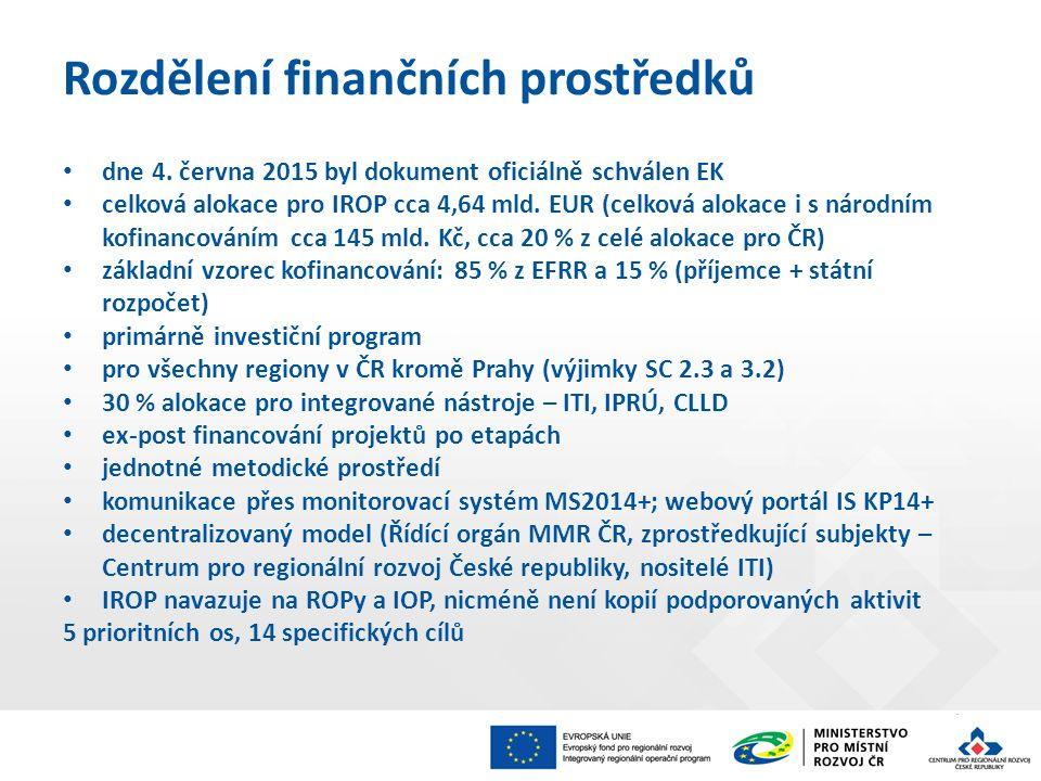 Rozdělení finančních prostředků dne 4. června 2015 byl dokument oficiálně schválen EK celková alokace pro IROP cca 4,64 mld. EUR (celková alokace i s