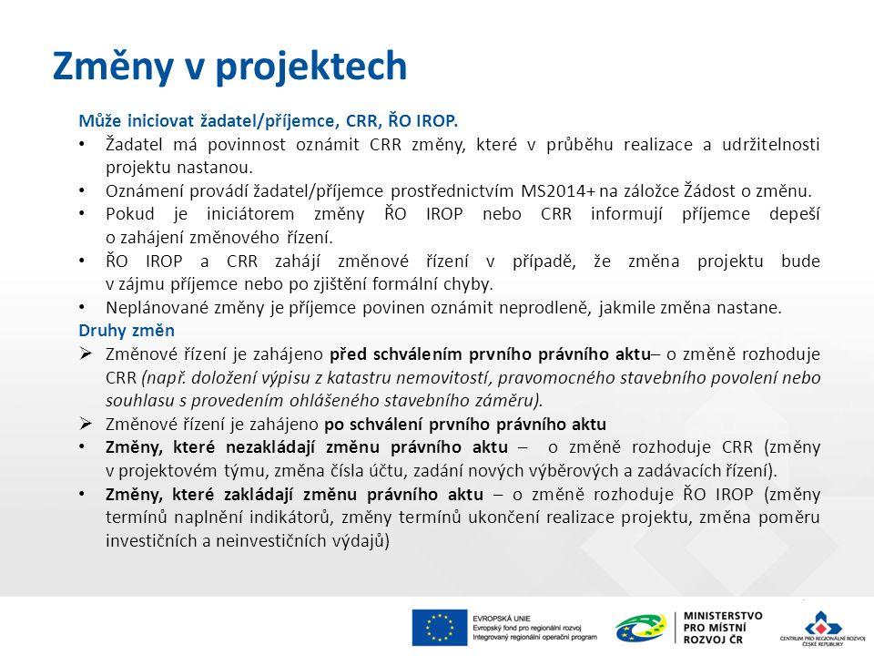 Může iniciovat žadatel/příjemce, CRR, ŘO IROP. Žadatel má povinnost oznámit CRR změny, které v průběhu realizace a udržitelnosti projektu nastanou. Oz