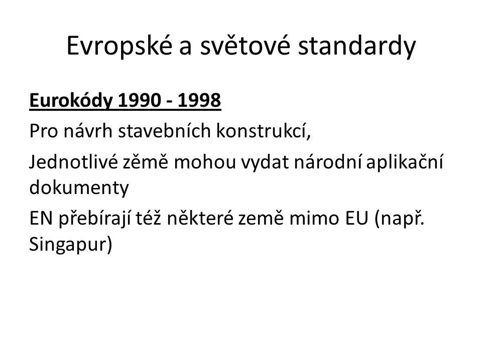 Evropské a světové standardy Eurokódy 1990 - 1998 Pro návrh stavebních konstrukcí, Jednotlivé zěmě mohou vydat národní aplikační dokumenty EN přebíraj