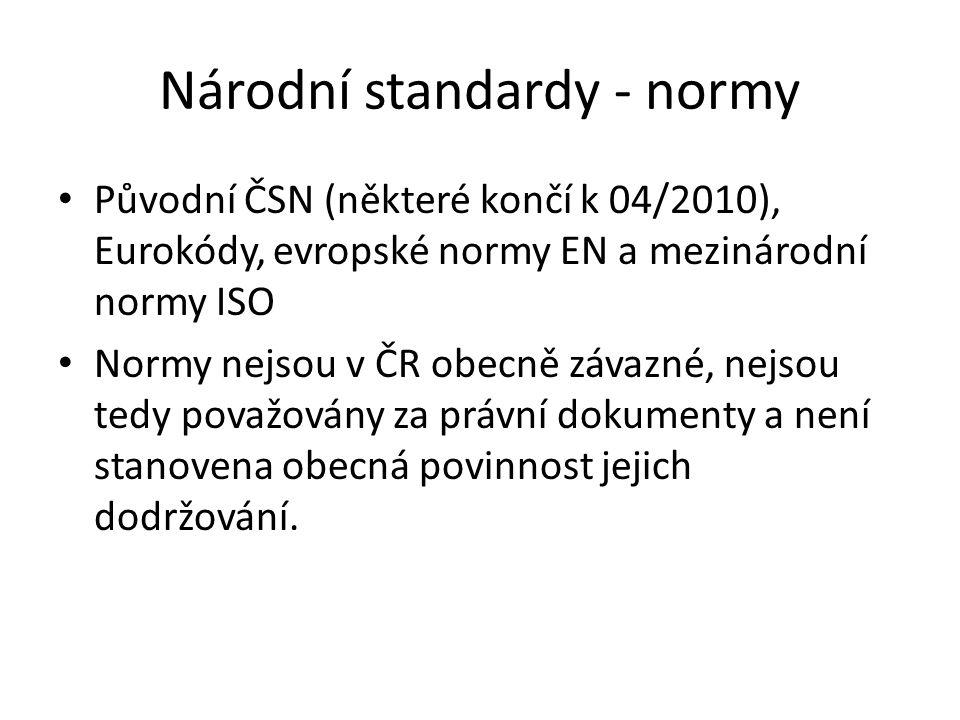 Národní standardy - normy Původní ČSN (některé končí k 04/2010), Eurokódy, evropské normy EN a mezinárodní normy ISO Normy nejsou v ČR obecně závazné,