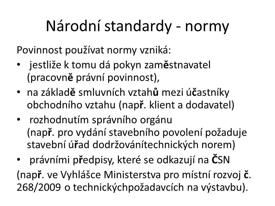Národní standardy - normy Povinnost používat normy vzniká: jestliže k tomu dá pokyn zaměstnavatel (pracovně právní povinnost), na základě smluvních vz