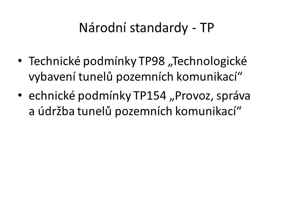 """Národní standardy - TP Technické podmínky TP98 """"Technologické vybavení tunelů pozemních komunikací"""" echnické podmínky TP154 """"Provoz, správa a údržba t"""