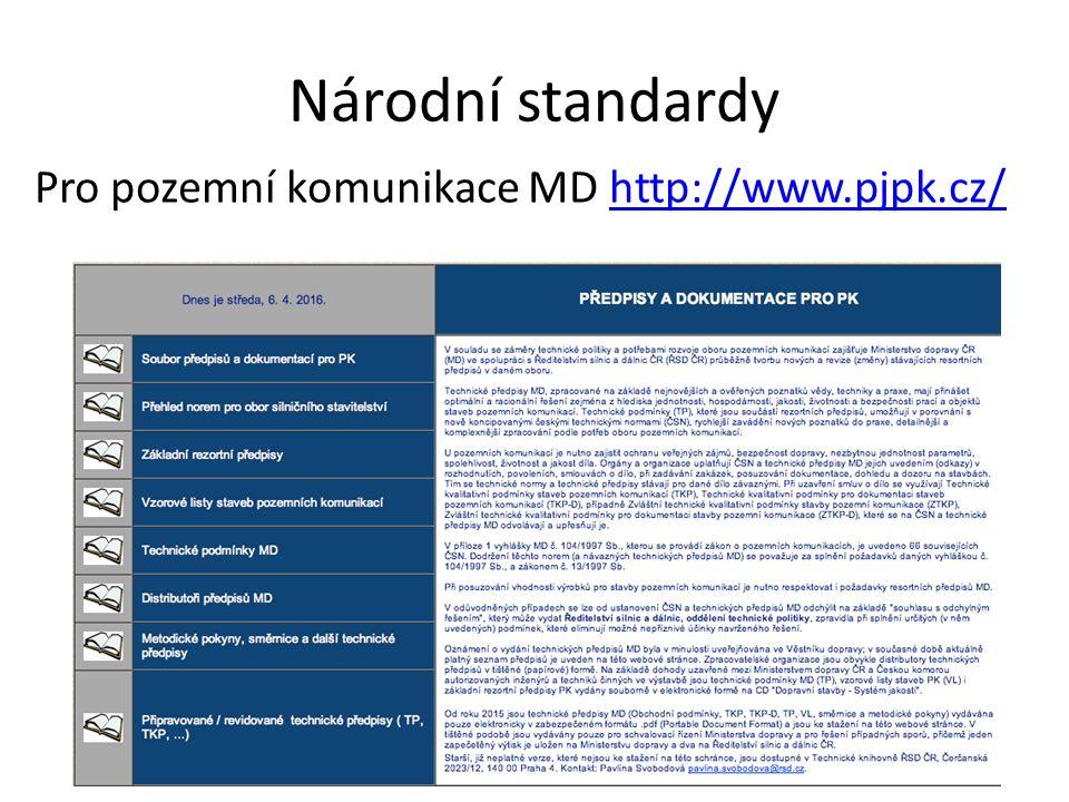 Národní standardy Pro pozemní komunikace MD http://www.pjpk.cz/http://www.pjpk.cz/