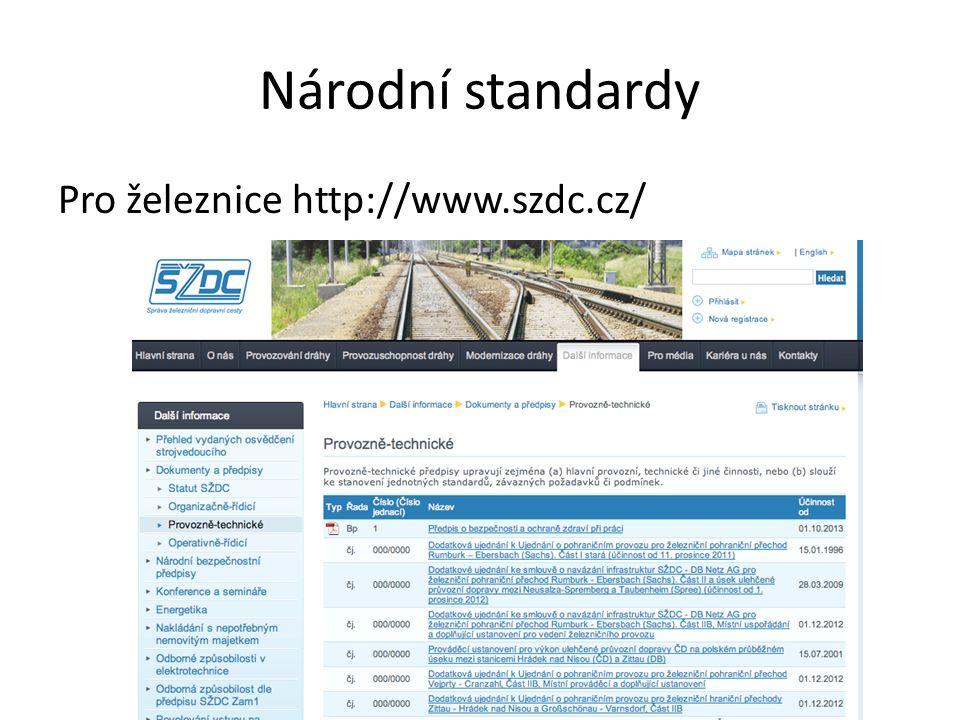 Národní standardy Pro železnice http://www.szdc.cz/