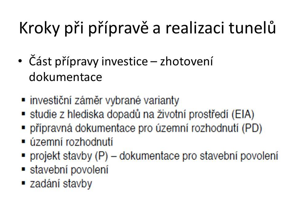 Kroky při přípravě a realizaci tunelů Část přípravy investice – zhotovení dokumentace